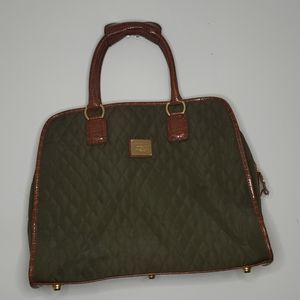Liz Claiborne Oliver and Brown Quilted Travel Bag